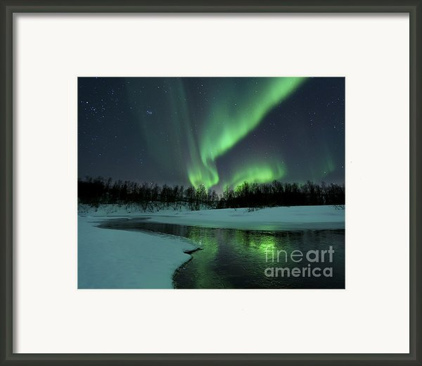 Reflected Aurora Over A Frozen Laksa Framed Print By Arild Heitmann