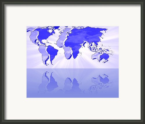 Reflected Parallel Worlds Map Framed Print By Georgeta  Blanaru