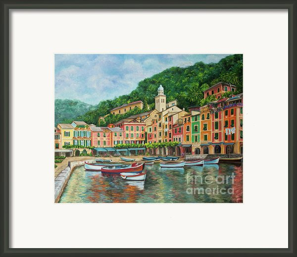 Reflections Of Portofino Framed Print By Charlotte Blanchard