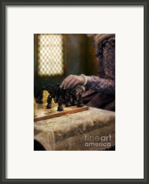 Renaissance Lady Playing Chess Framed Print By Jill Battaglia