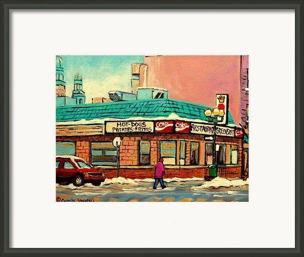 Restaurant Greenspot Deli Hotdogs Framed Print By Carole Spandau