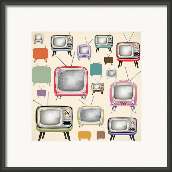 Retro Tv Pattern  Framed Print By Setsiri Silapasuwanchai