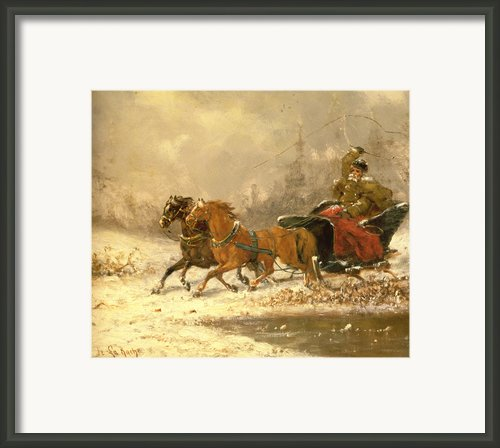 Returning Home In Winter Framed Print By Charles Ferdinand De La Roche