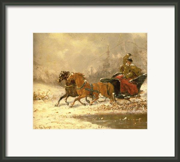 Returning Home In Winter Framed Print By Charles Ferdinand De La Roche