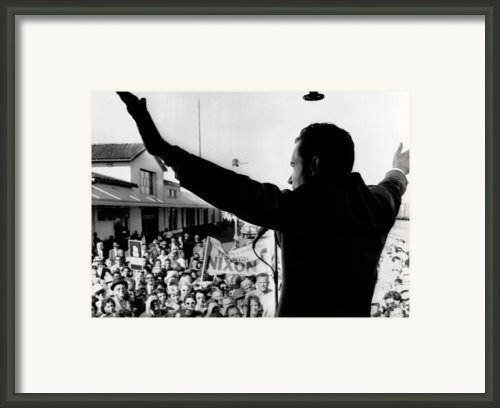 Richard Nixon Campaigning For Governor Framed Print By Everett