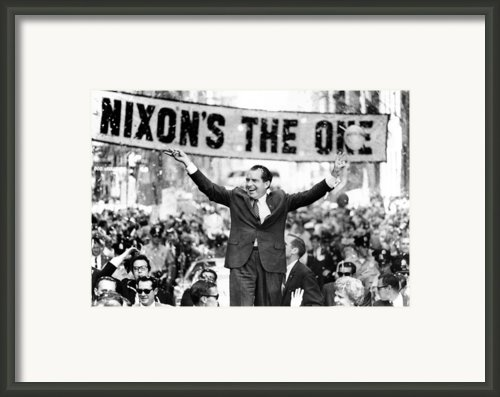 Richard Nixon, Delivering His The V Framed Print By Everett