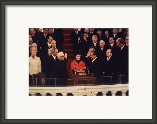 Richard Nixon Taking The Oath Of Office Framed Print By Everett
