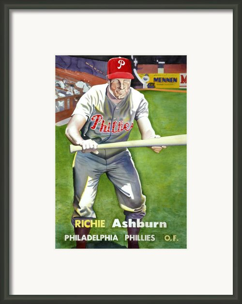 Richie Ashburn Topps Framed Print By Robert  Myers