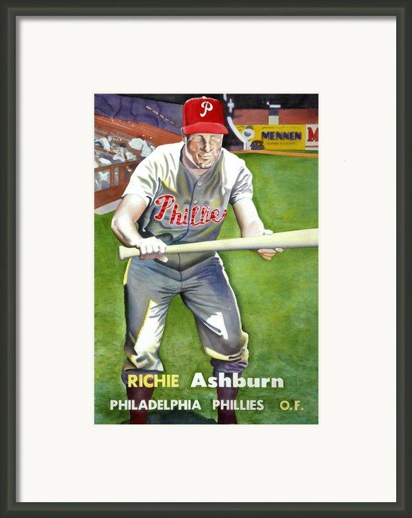 Richie Ashburn Topps Framed Print By Robert  Myers