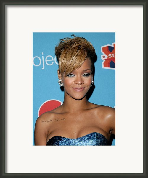 Rihanna In Attendance For Pepsi Refresh Framed Print By Everett