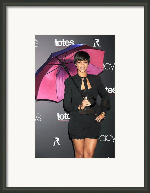 Rihanna Wearing Matthew Williamson Framed Print By Everett