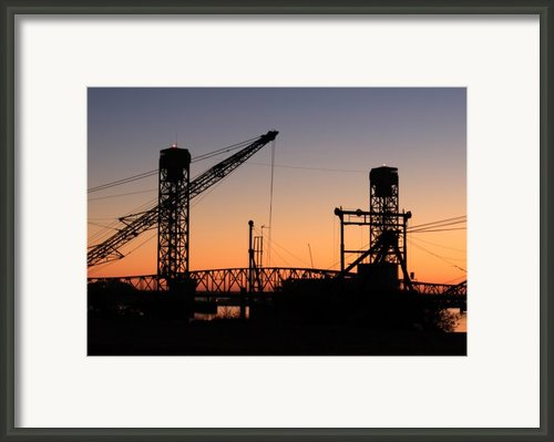Rio Vista Bridge And Barges Framed Print By Troy Montemayor