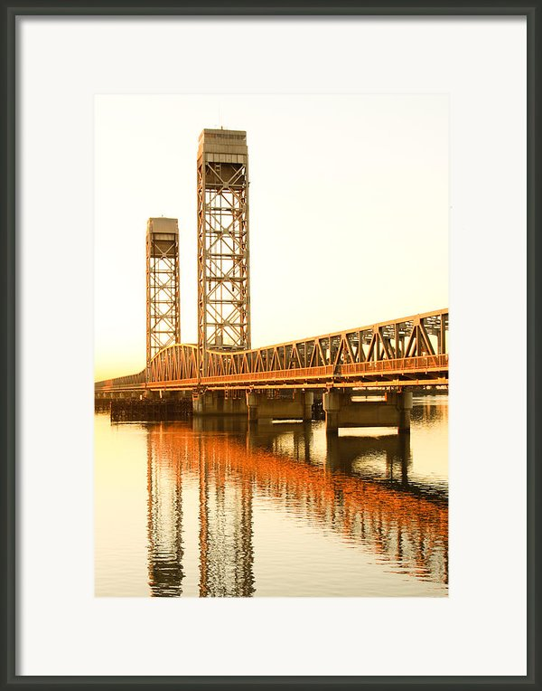 Rio Vista Bridge Sunrise Framed Print By Troy Montemayor