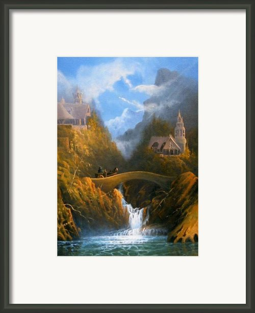 Rivendell The Lord Of The Rings Tolkien Inspired Art   Framed Print By Joe  Gilronan