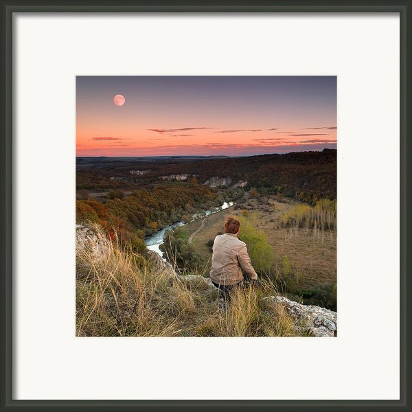 River And Moon Framed Print By Evgeni Dinev