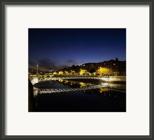 River Liffey, Millenium Footbridge At Framed Print By The Irish Image Collection