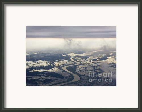 River Running Through A Flooded Countryside Framed Print By Jeremy Woodhouse