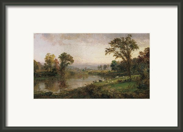 Riverscape In Early Autumn Framed Print By Jasper Francis Cropsey