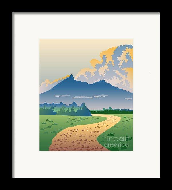 Road Leading To Mountains Framed Print By Aloysius Patrimonio