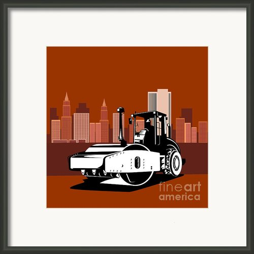 Road Roller  Retro  Framed Print By Aloysius Patrimonio