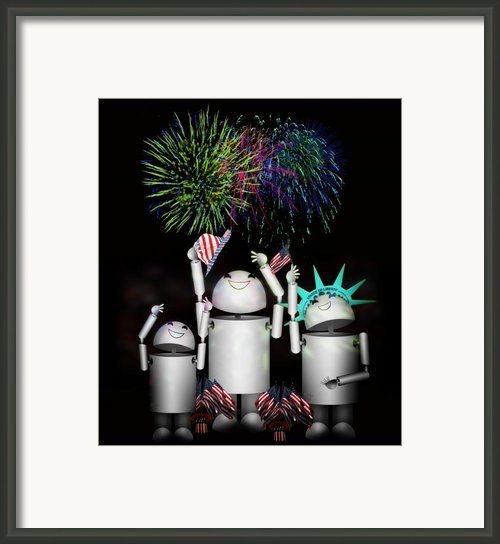 Robo-x9 And Family Celebrate Freedom Framed Print By Gravityx Designs