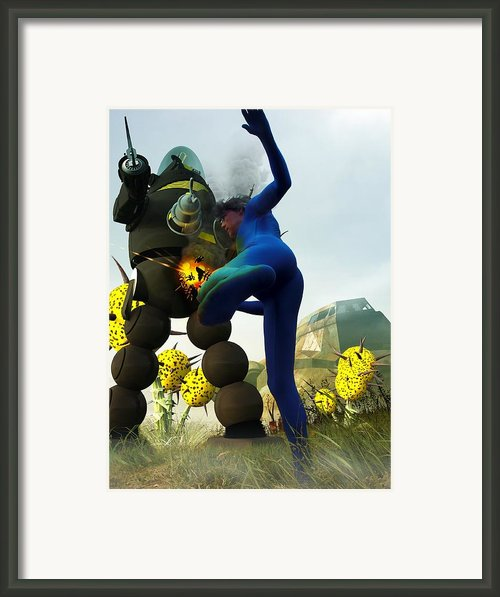 Robot Fighter V2 Framed Print By Michael Knight