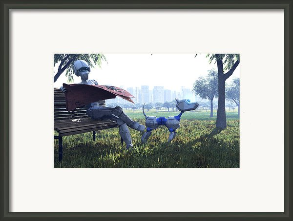 Robot Reading A Newspaper, Artwork Framed Print By Carl Goodman