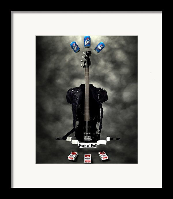 Rock N Roll Crest-the Bassist Framed Print By Frederico Borges