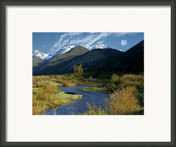 Rocky Mountain Moonrise Framed Print By Charles Warren