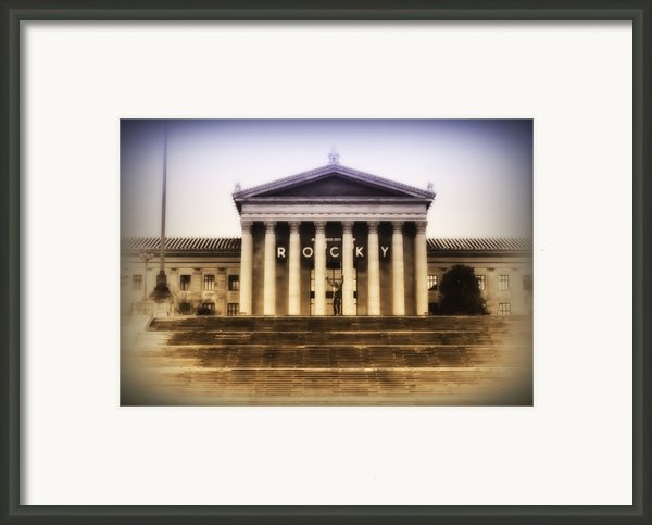 Rocky On The Art Museum Steps Framed Print By Bill Cannon