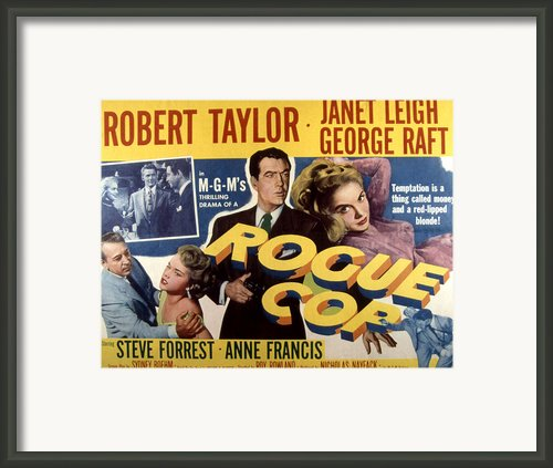 Rogue Cop, George Raft, Anne Francis Framed Print By Everett
