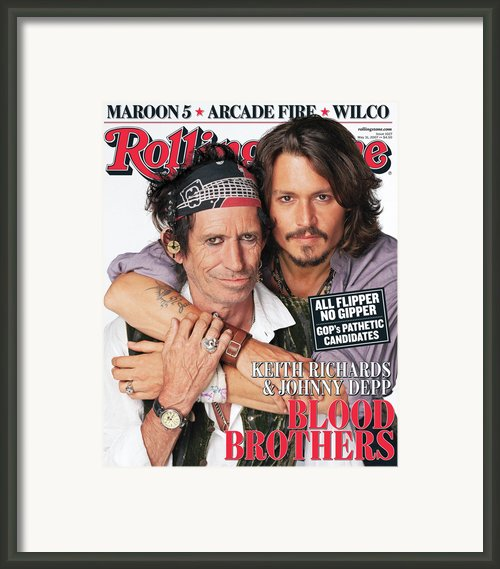 Rolling Stone Cover - Volume #1027 - 5/31/2007 - Johnny Depp And Keith Richards Framed Print By Matthew Rolston