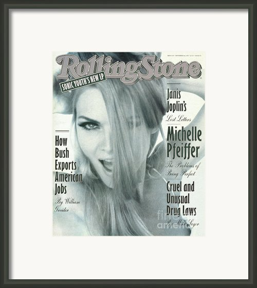 Rolling Stone Cover - Volume #638 - 9/3/1992 - Michelle Pfeiffer Framed Print By Herb Ritts