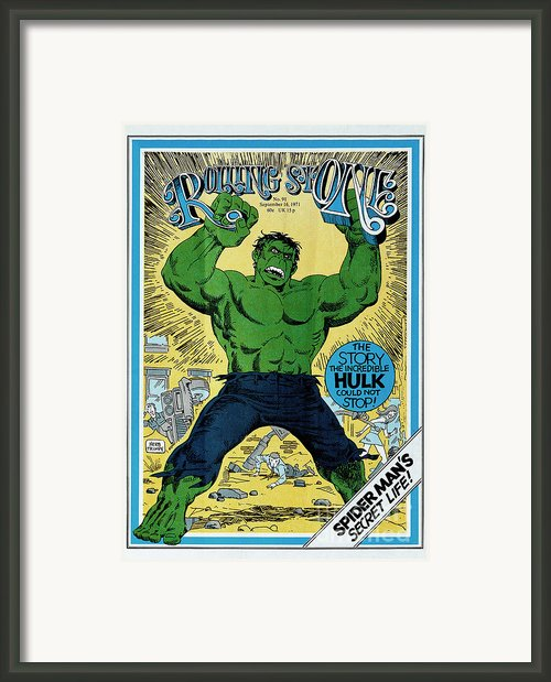 Rolling Stone Cover - Volume #91 - 9/16/1971 - The Incredible Hulk Framed Print By Herb Trimpe