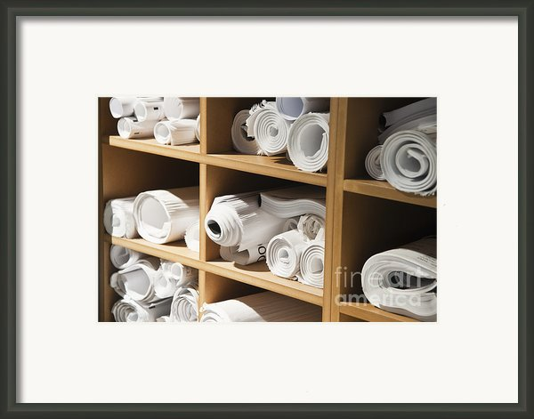Rolls Of Blueprints In Cubbyholes Framed Print By Jetta Productions, Inc
