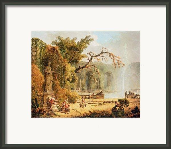 Romantic Garden Scene Framed Print By Hubert Robert