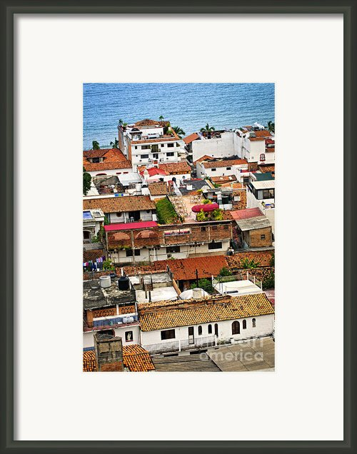 Rooftops In Puerto Vallarta Mexico Framed Print By Elena Elisseeva