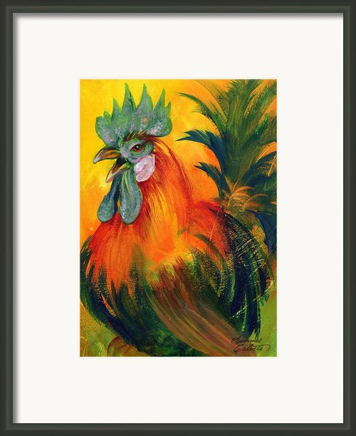 Rooster Of Another Color Framed Print By Summer Celeste