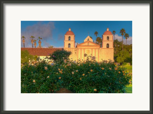 Rose Garden At Santa Barbara Mission Framed Print By Connie Cooper-edwards