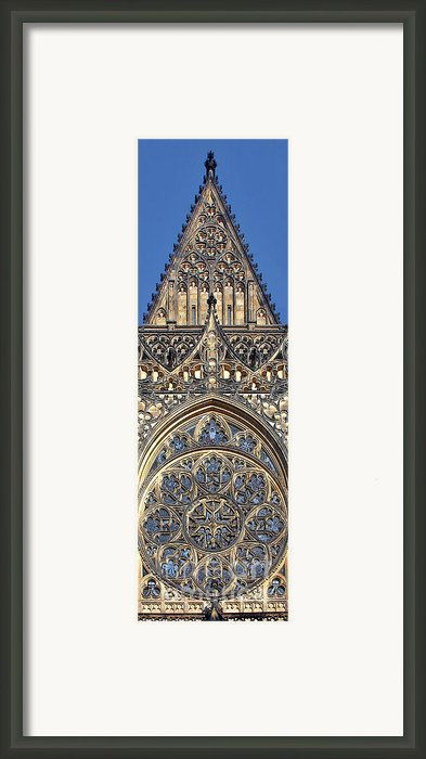Rose Window - Exterior Of St Vitus Cathedral Prague Castle Framed Print By Christine Till