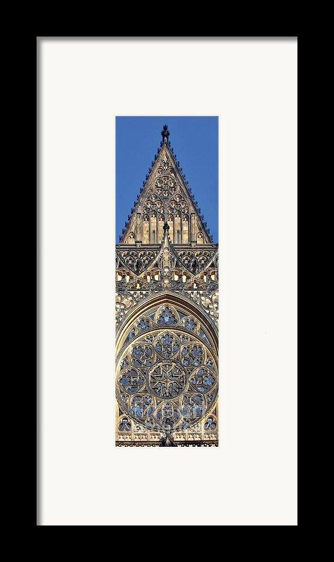 Rose Window - Exterior Of St Vitus Cathedral Prague Castle Framed Print By Christine Till