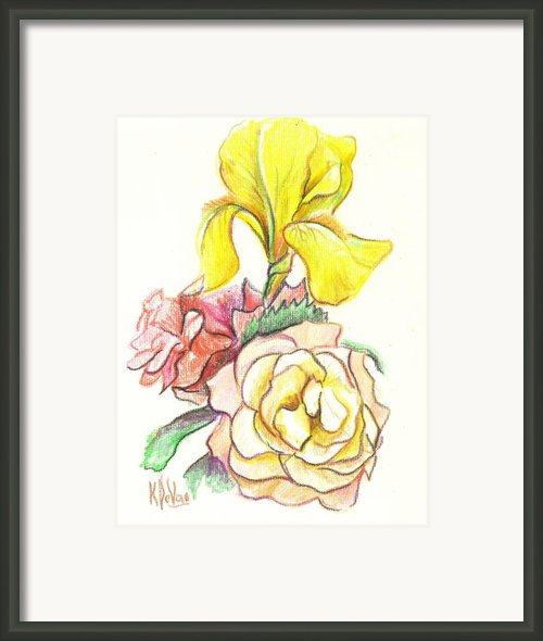Roses With Yellow Iris Framed Print By Kip Devore