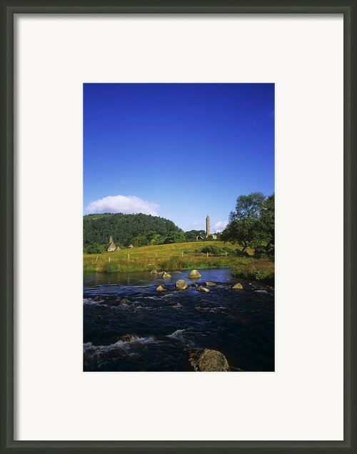 Round Tower And River In The Forest Framed Print By The Irish Image Collection