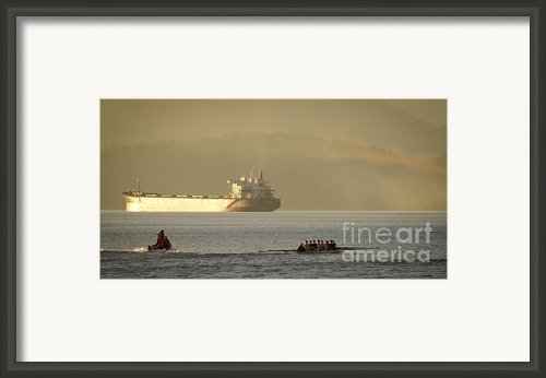 Rowing Tanker Training Off Sunset Beach Park Downtown Vancouver Bc Canada Framed Print By Andy Smy