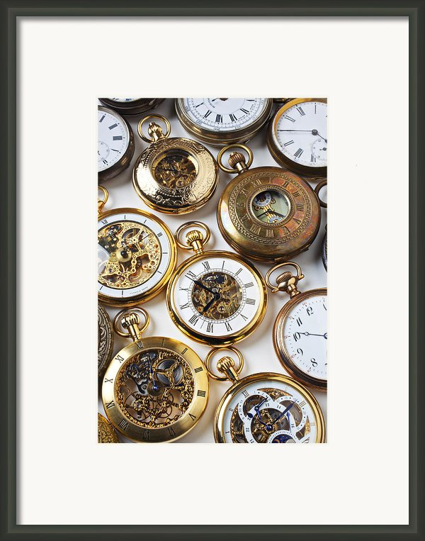Rows Of Pocket Watches Framed Print By Garry Gay