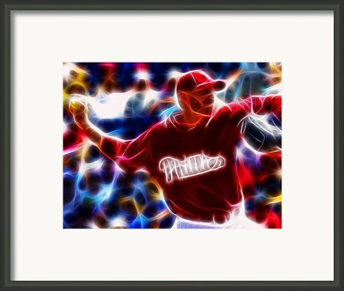 Roy Halladay Magic Baseball Framed Print By Paul Van Scott