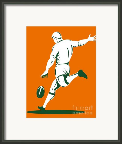 Rugby Player Kicking Framed Print By Aloysius Patrimonio