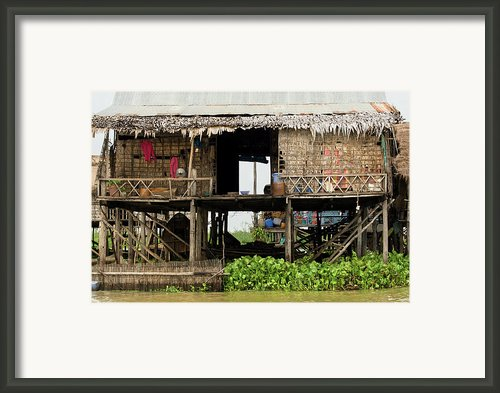 Rural Fishermen Houses In Cambodia Framed Print By Artur Bogacki