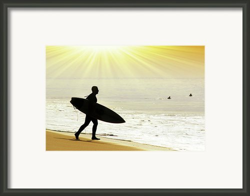 Rushing Surfer Framed Print By Carlos Caetano