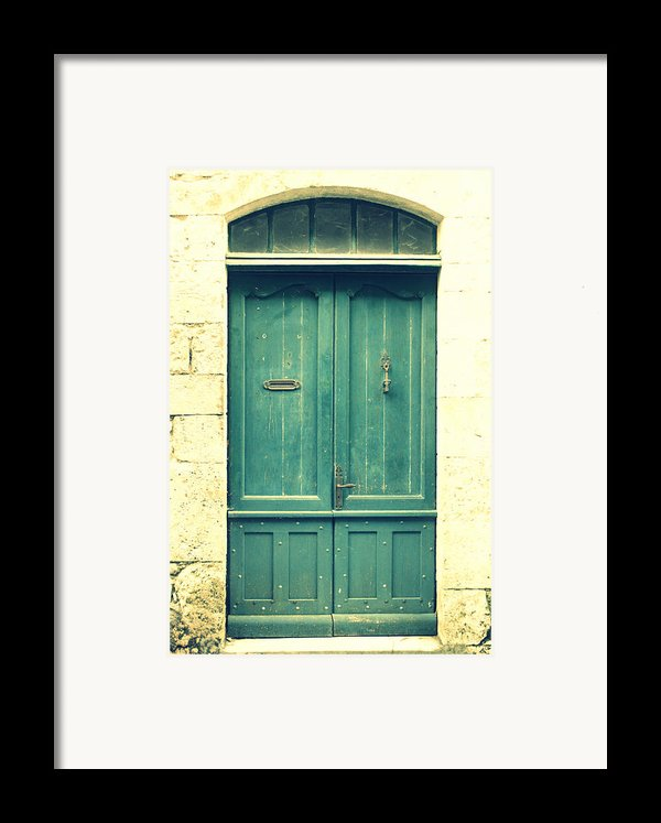 Rustic Teal Green Door Framed Print By Nomad Art And  Design
